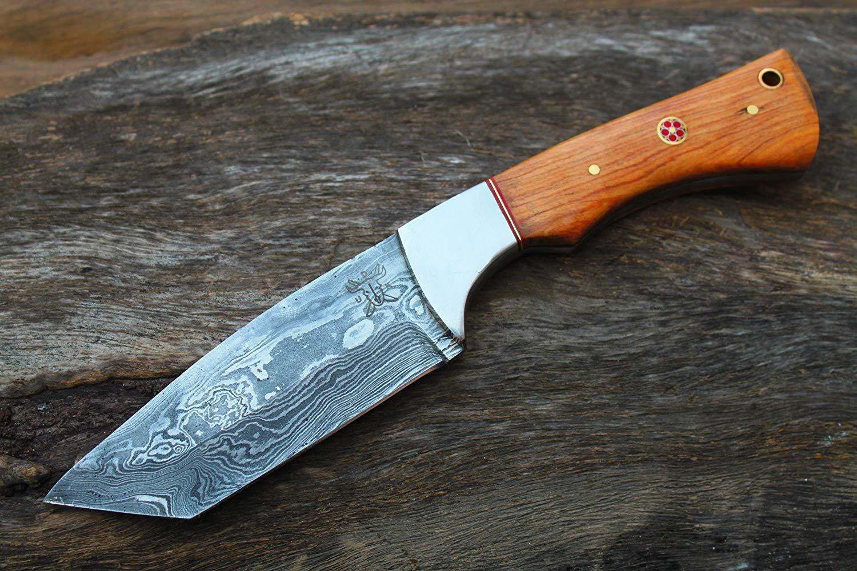 "Damascus Blade Handmade 4.2"" Hunting knife w/Olive Wood, Steel Bolsters & Fine Sheath Cover UDK-K-C-65"