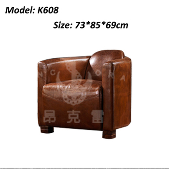 Full Leather Sofa Tomcat Chair Vintage Button Back Sofa Design K608