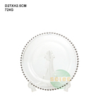 Hotsale simple clear glass plate wedding hotel home dinnerware sets charger plates with silver / gold rim round shape