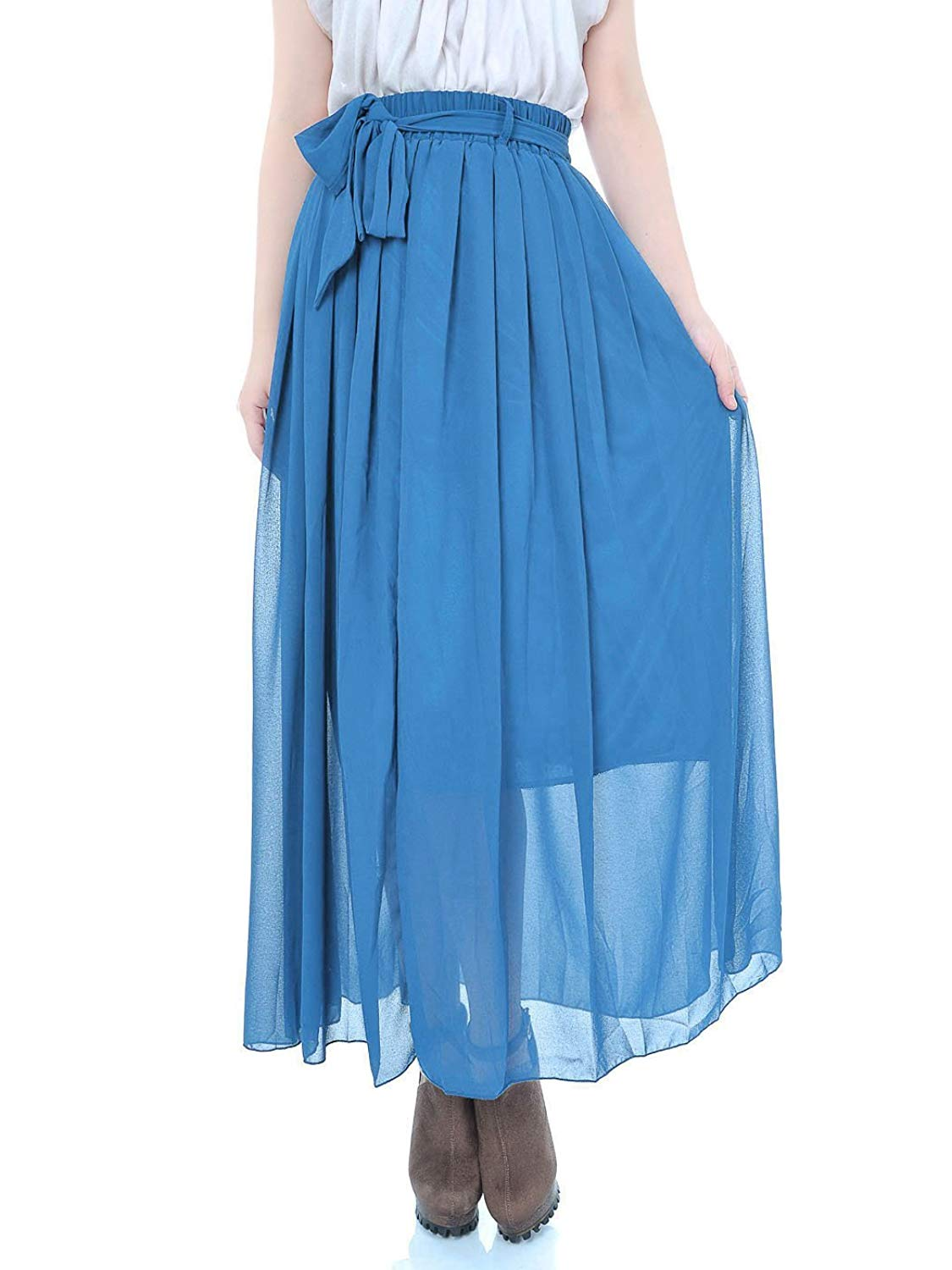 d7c27100a Get Quotations · Anna-K S/M Fit Royal Blue Semi Sheer Chiffon Matching  Ribbon Sash Maxi