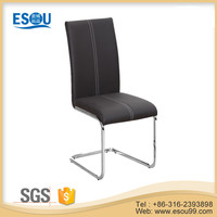 Grey Leather Chrome Dining Chair for Dining Room Furniture