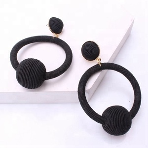 Bohemia women's fashion bonbon ball drop earrings metallic thread wrap hoop and ball earrings