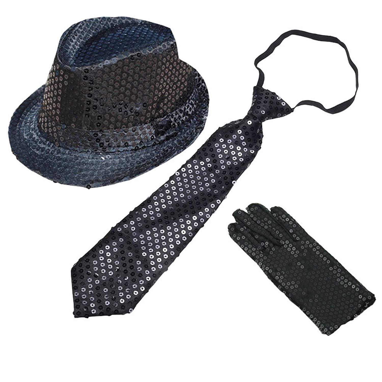 3c518945 Get Quotations · CHUANGLI Adult Sequins Fedora Hat Jazz Hat & Glitter  Gloves & Necktie Dance Cap Solid Jazz