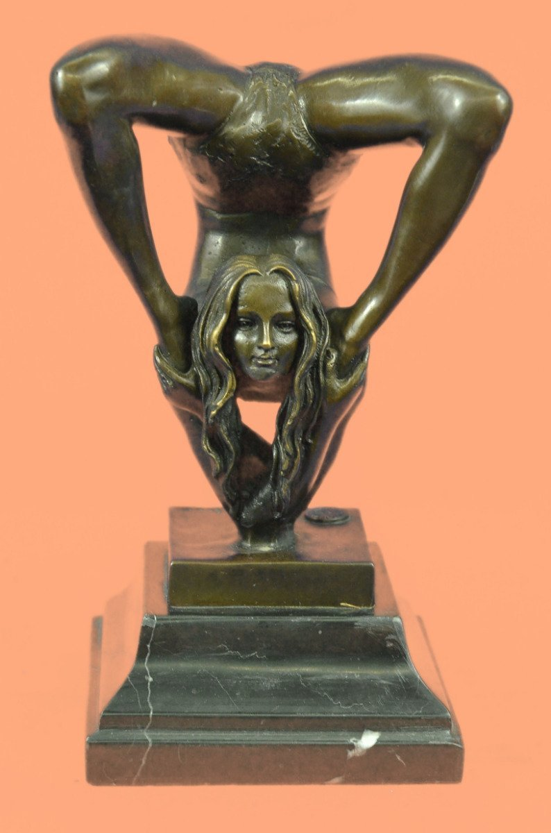 ...Handmade...European Bronze Sculpture Signed Original Semi Nude Acrobat Female Agile Flexible Marble (1X-ST-016) Bronze Sculpture Statues Figurine Nude Office & Home Décor Collectibles Sale Deal Gi