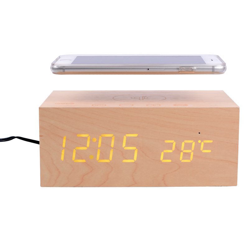2016 Original Stereo Wooden clock Bluetooth Speaker box with led display alarm clock qi charging+Touch screen+NFC+handsfree+temp