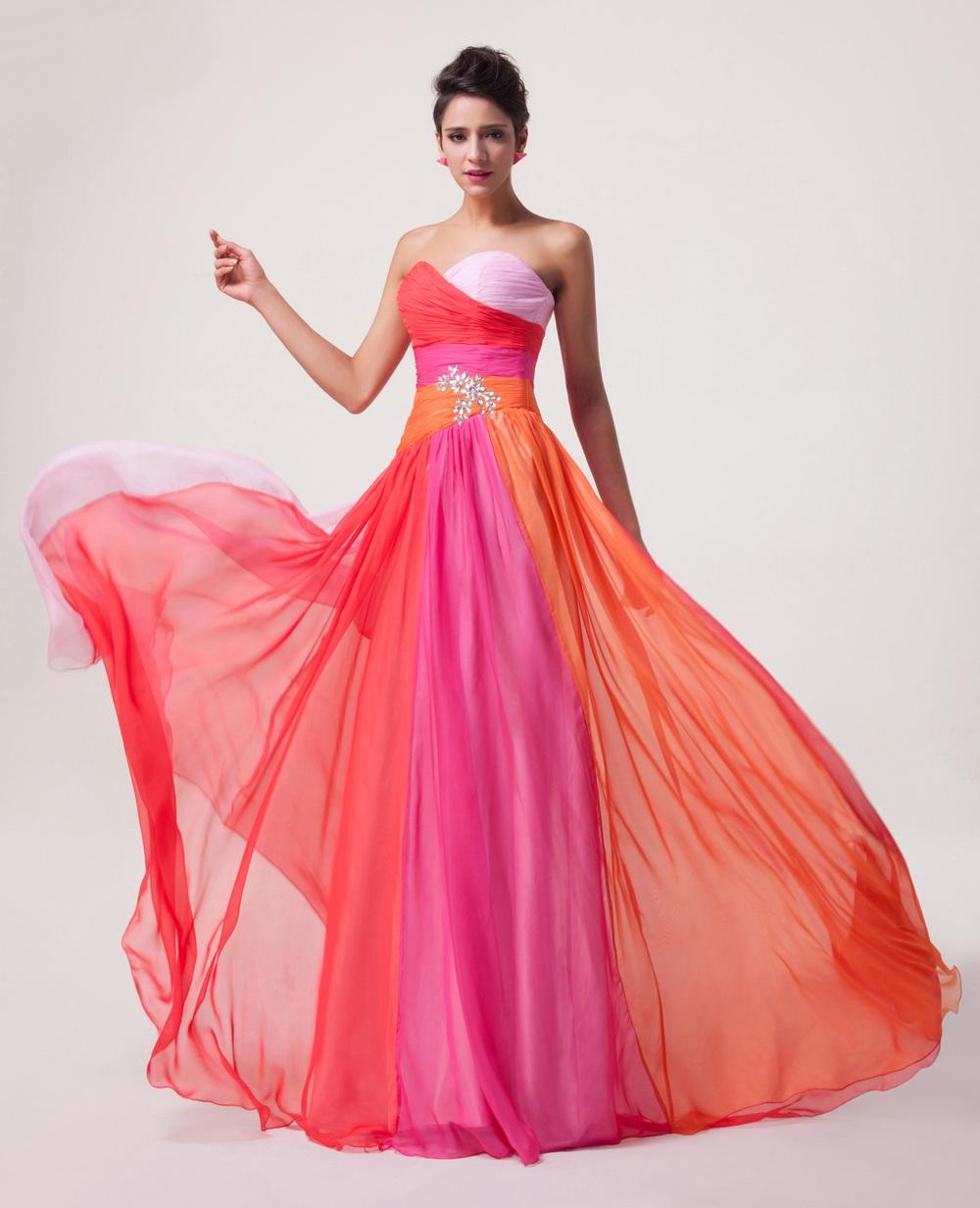 Grace Karin Elegant Design Ombre Strapless Sweetheart Chiffon Long ...