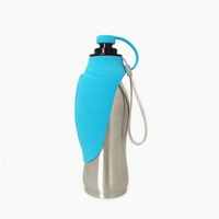 BPA free 20 ounce Pet Dog Water Bottle With Silicone Bowl and strap