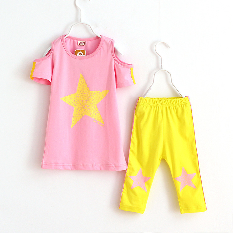 New girls clothing set summer two pieces sets top pants teenage children clothing outerwear kids girls suits twinset