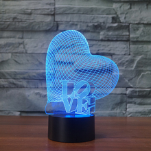 Amazing Optical Illusion 3D Deco Light/LED Lamp/Night Light,7 Different Color is Adjustable (heart)-NEWCOM