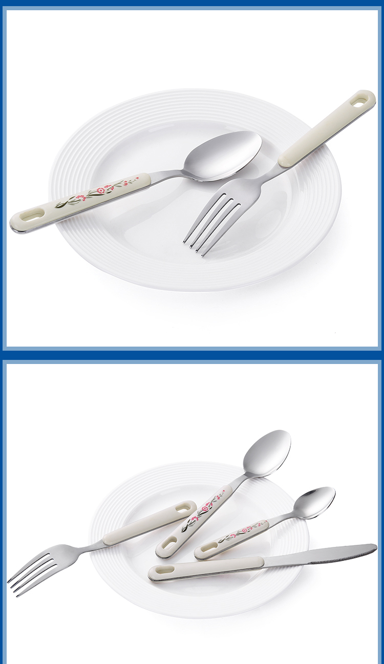 Long Tang Party Tableware Plastic Handle Travel Disposable Cutlery Sets