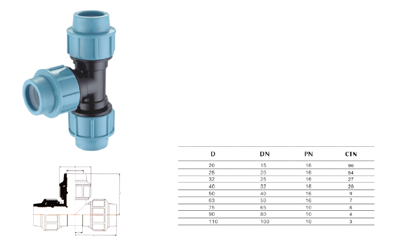 Pp pe compression fittings for water supply italian style