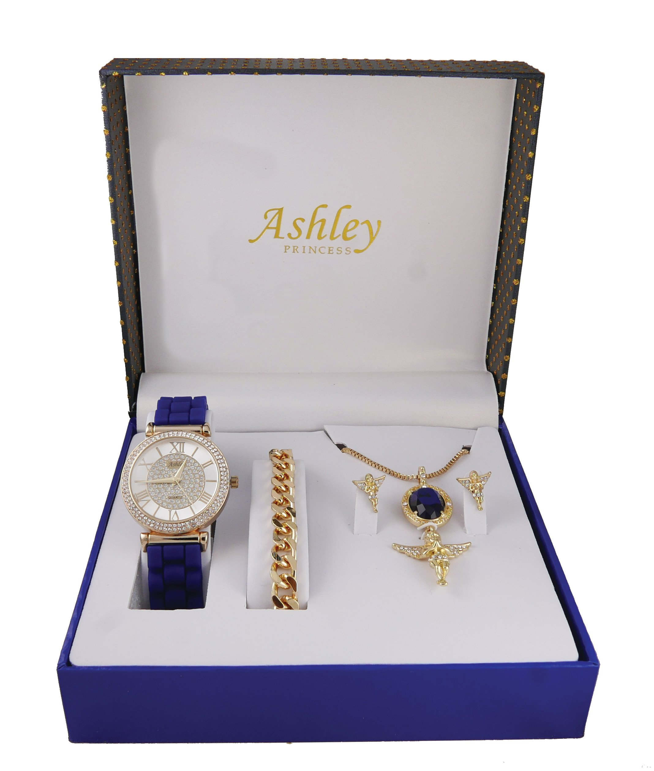 Iced Out Ladies Praying Guardian Angel Sapphire Gem Pendent with Gold Necklace, Earrings, Gold Bracelet and Ladies Watch. Jewelry Set - 1412/8229-AG Sapphire Blue