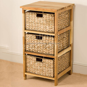 Wholesale Wood 3 Basket Storage Unit,drawer Cabinet