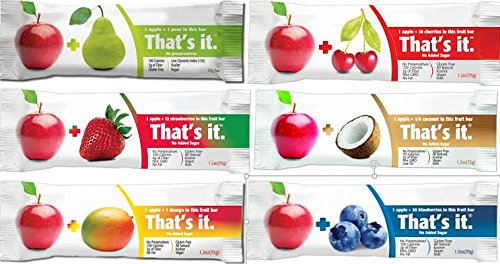That's It Bar,complete Flavor Sampler,Variety pack of 12 (2 Apple+Coconut ,2 Apple+ Cherry, 2 Apple+ Blueberry, 2 Apple+Strawberry,2 Apple+Mango,2 Apple+Pear)