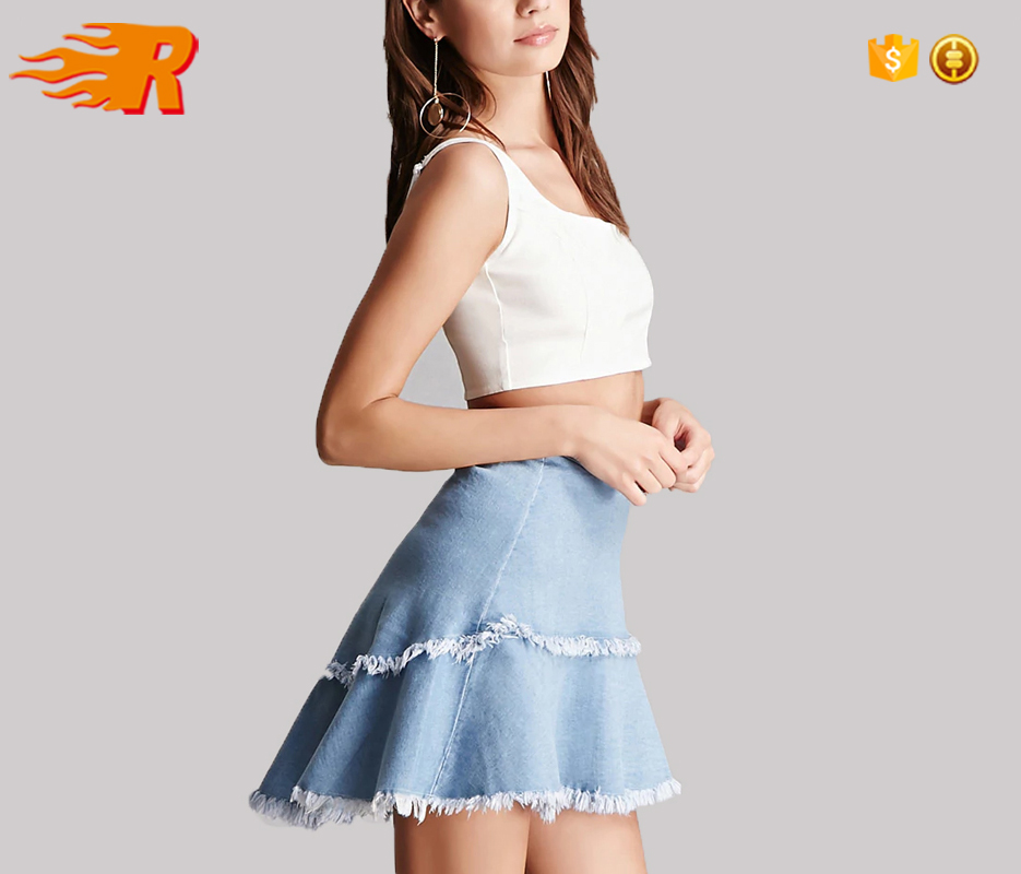 Ladies Latest Design Light Wash Blue Frayed Tier Denim Mini Skirt With Flared Silhouette