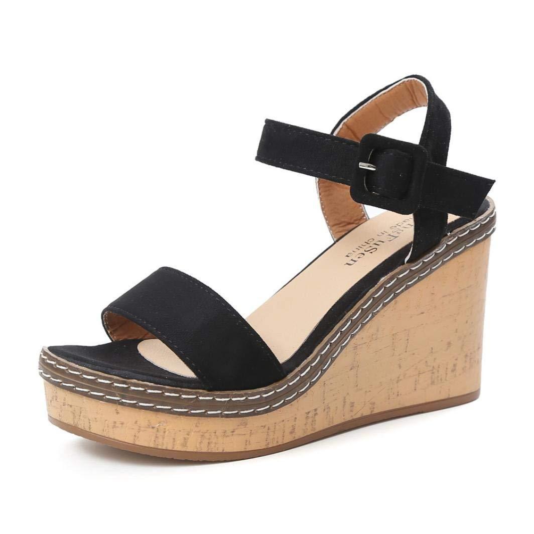 G&Kshop Wedge Sandals For Women,Peep-Toe Buckle Shoes Platform High Heels Sandal