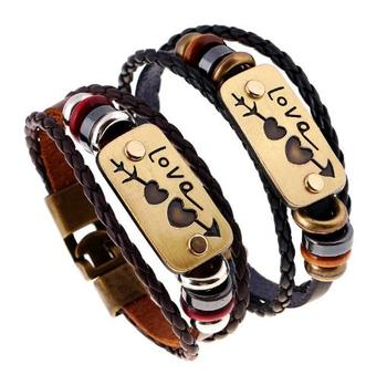 Mst Brand Custom Engraved Braided Leather Bracelets Whole Wrap Bracelet With Wood