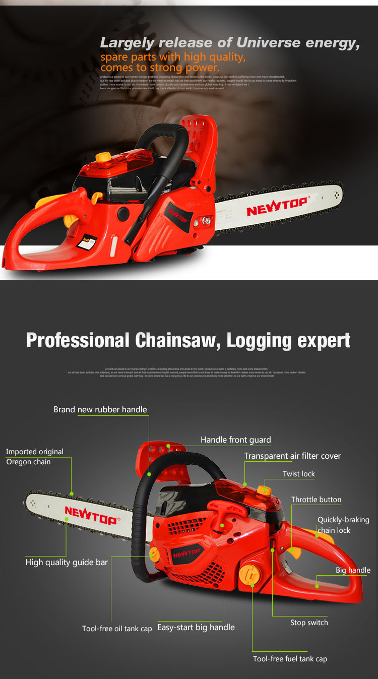 chinese chainsaw manufacturers gasoline chain saw 52CC with CE certified