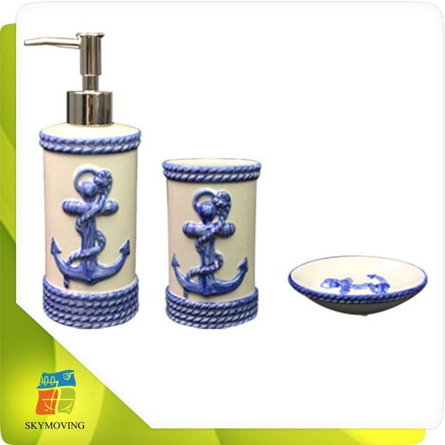 3pcs Anchor Bathroom Accessory Set Includinfg Soap Dispenser,tumbler And  Soap Dish