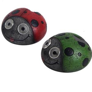 Resin 4 Beetles Elf Figures Eye Solar Powered LED Light, Garden LED Light