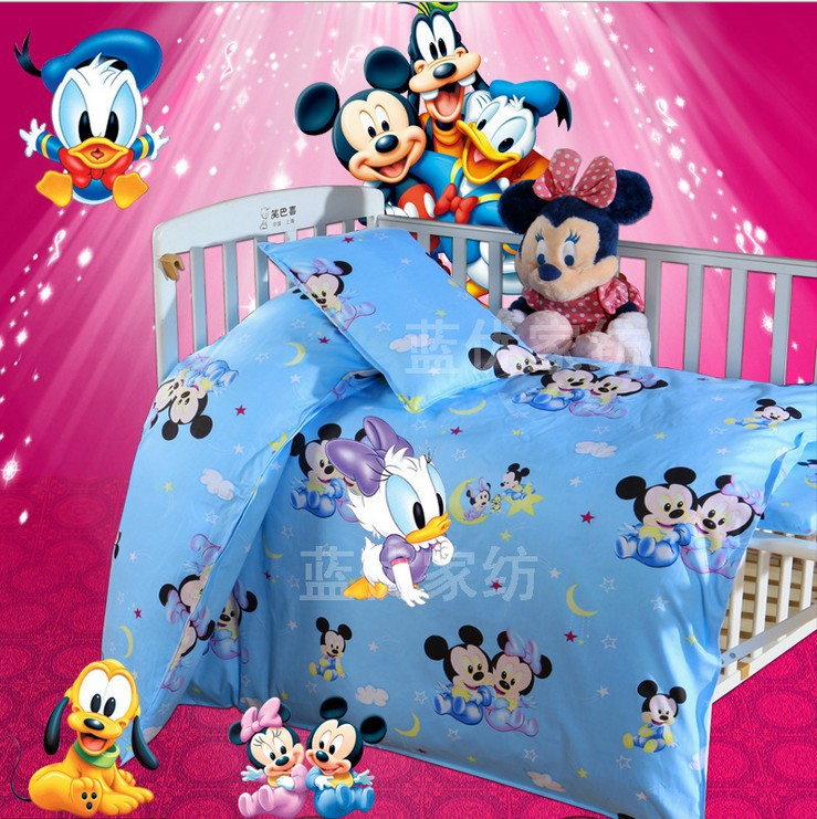Promotion 3PCS Kitty Mickey bedding set 100 cotton curtain crib baby cot sets baby bed Duvet