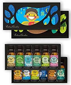 OK For Kids 12 Set - Edens Garden Essential Oil Synergy Blends - (12) 10 ml (Calm 'Em Down, Focus, Focus, Focus, Germ Ease, Pollen Buster, Shoo Fly, Tummy Aid)