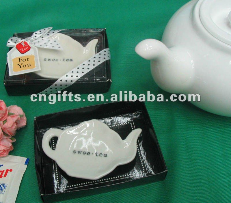 "2012 Wedding party door gifts of ""Swee-Tea"" Ceramic Tea-Bag Caddy in Black & White Serving-Tray Gift Box"