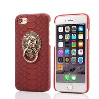 Luxury 3D lion head Metal Ring holder Stand phone cases Snake Lizard Texture Leather Hard Cover Case For iphone 6 6s plus 5 5S