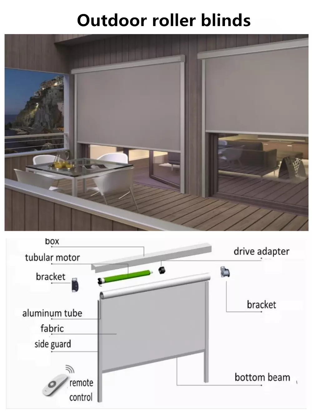 sunscreen or blackout fabric motorized outdoor waterproof roller blinds