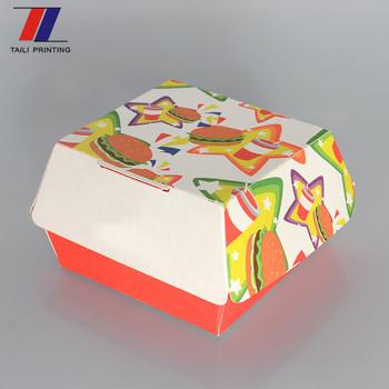 Disposable Packaging Burger Box Templates Flat Pack Hamburger Lunch