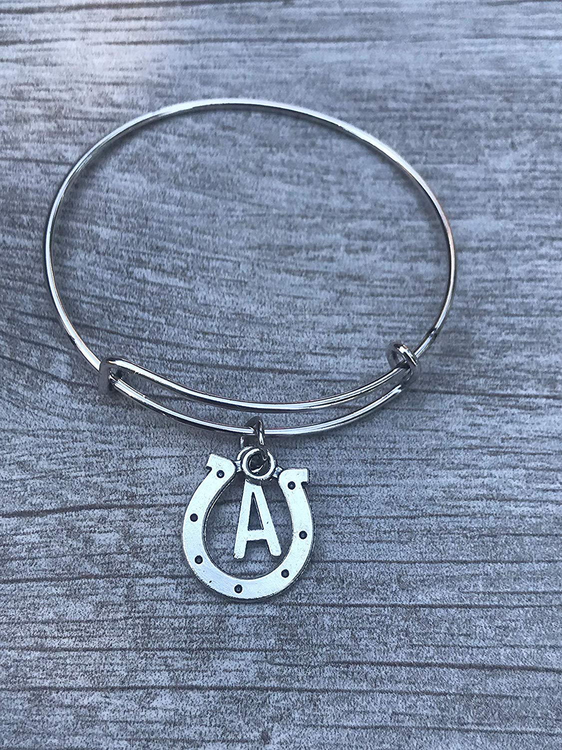 dc8294f07d46b2 Get Quotations · Personalized Equestrian Charm Bracelet with Initial Charm,  Customized Horse Lovers Jewelry for Women and Girls