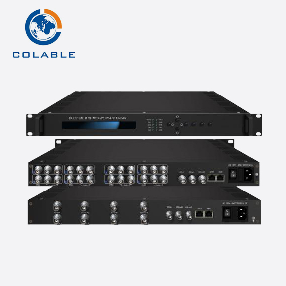Tv digital peralatan headend CATV 8 saluran encoder udp multicast CVBS ip asi encoder video h.264/mpeg2 untuk ethernet COL5181E