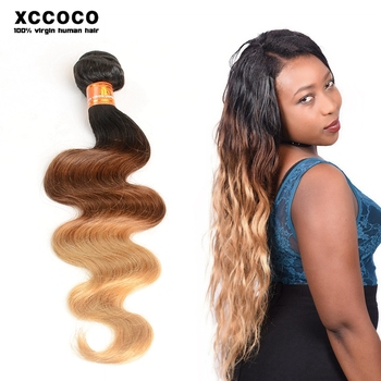 Superior Dark Brown Hair Light Brown Three Tone Ombre Brazilian Hair Weave Wet And  Wavy Nice Look