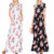 Wholesale Plus size Short sleeve round neck elastic waist floral print maxi dress with inseam pockets