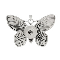 Butterfly Antique Silver Stripe Snap Button Jewelry Zinc Based Alloy Pendants For Snap Buttons , Snap Charm