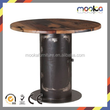 Bar Table Old Boat Wood Top Bar Table Metal Frame Wooden Top Bar Table
