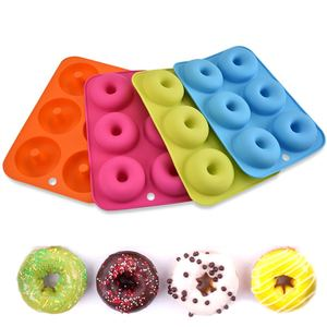 Non-toxic Best sale 6 Holes Round Shape Silicone Doughnut Maker Mold