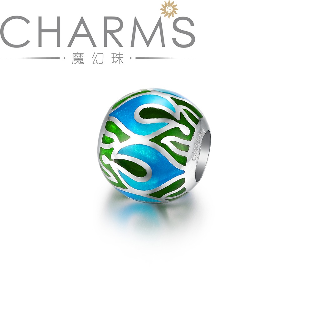 Newest fashion beads Colored Loose Decorative Flat enamel Beads silver