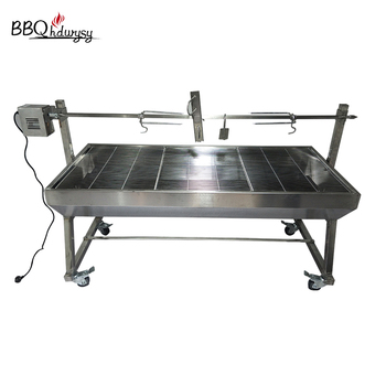 Commercial stainless steel charcoal lamb pig bbq grill spit roast machine
