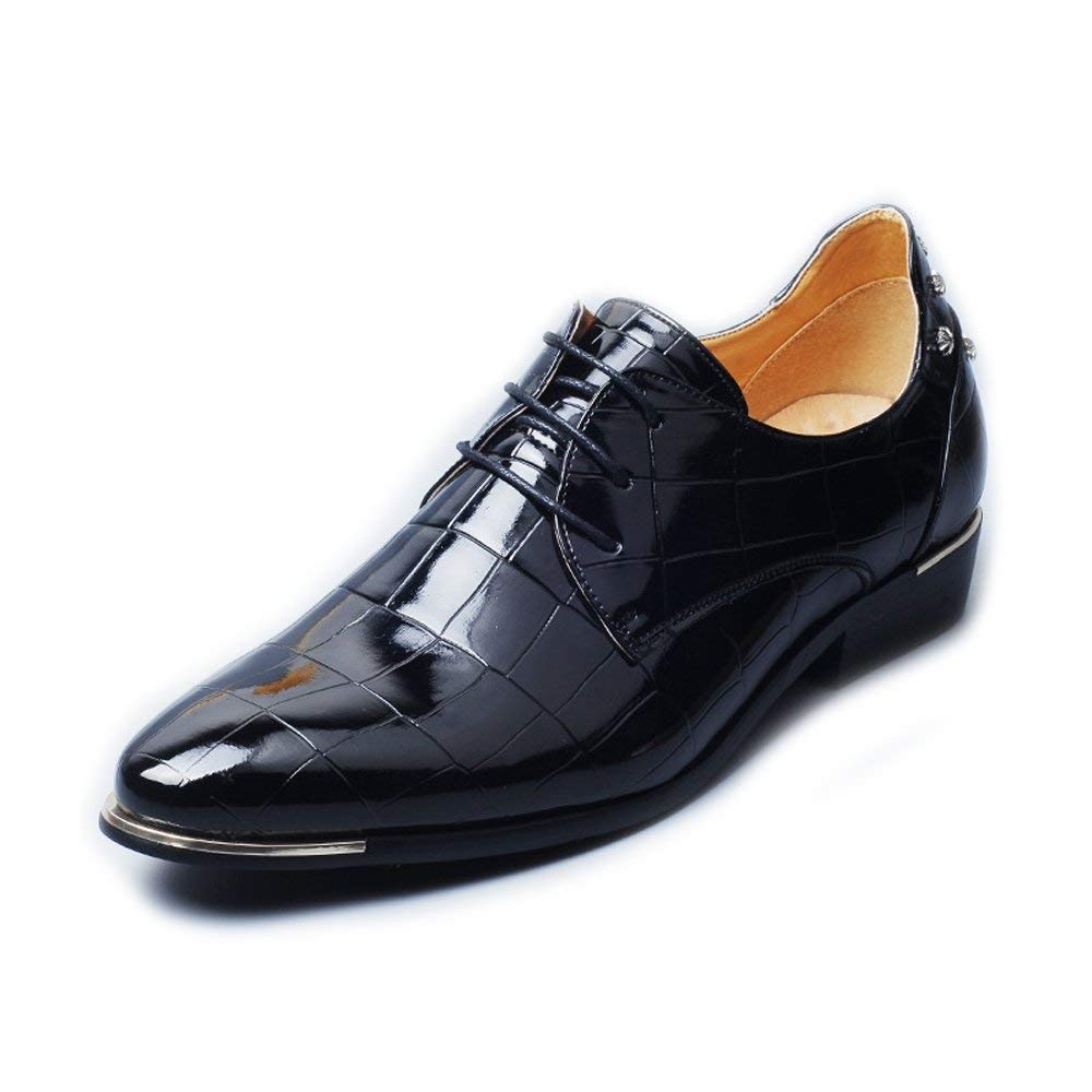Muyin Men's Burnished Smooth PU Leather Shoes Lace up Square Texture Formal Business Lined Oxfords