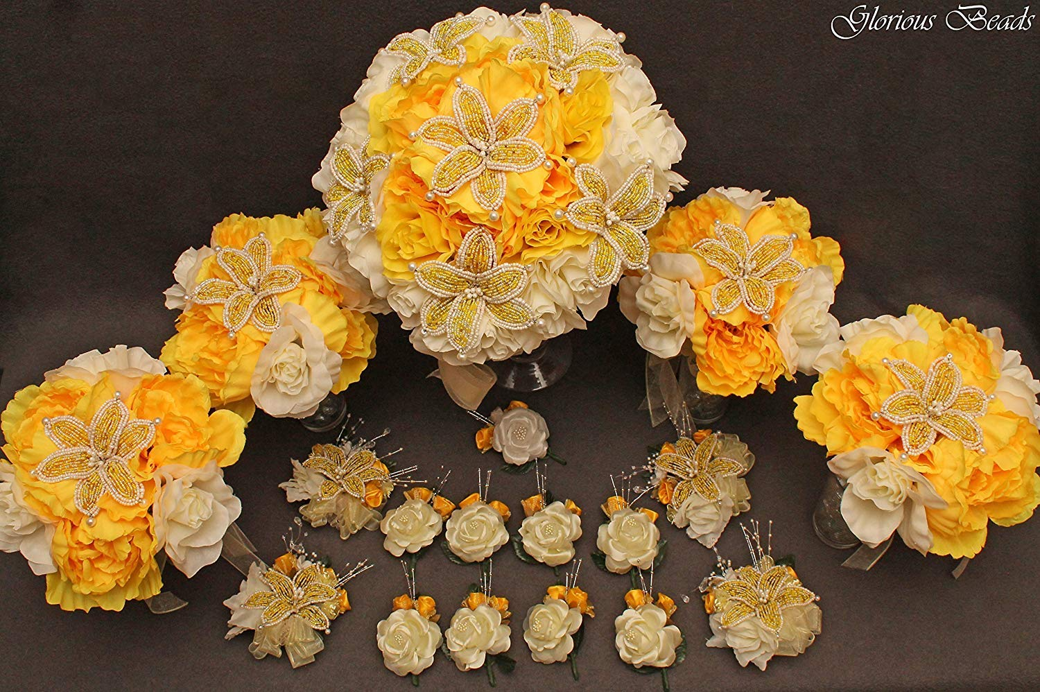 YELLOW and Ivory Beaded Lily Bridal Wedding Flower 18 piece set with Peonies and Roses~ Unique French beaded flowers. Bouquets Corsages and Boutonnieres