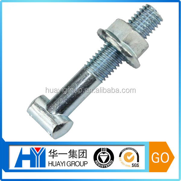 custom t shape steel with zinc plated coupling bolt with hex nut