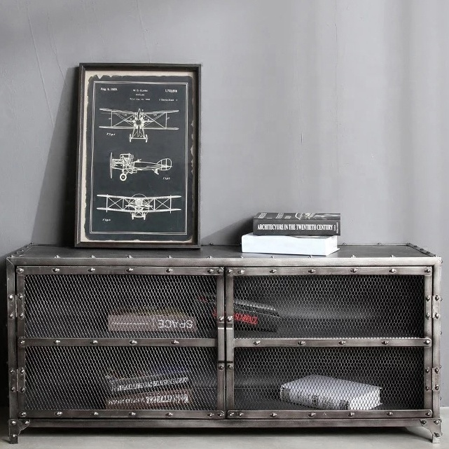 shipping container furniture TV cabinet with mesh door moq is 1 pcs custom-made size