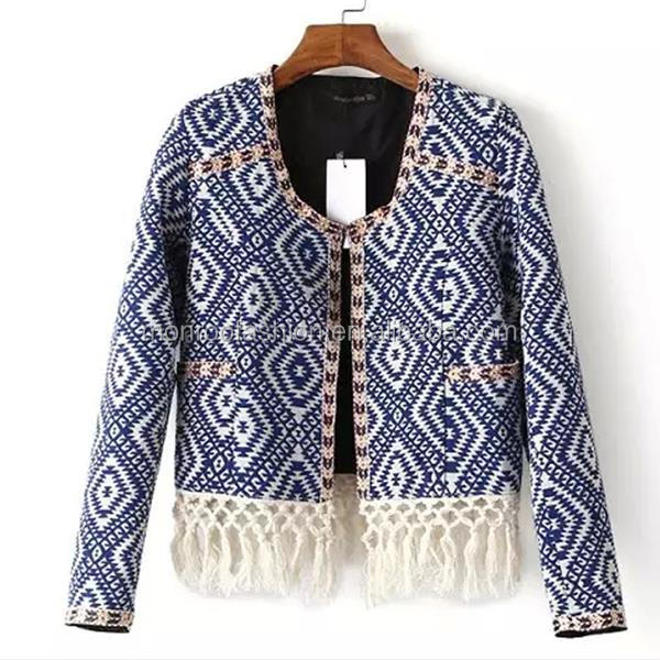 monroo Women fashion cardigan with fringe fancy embroidered jacket