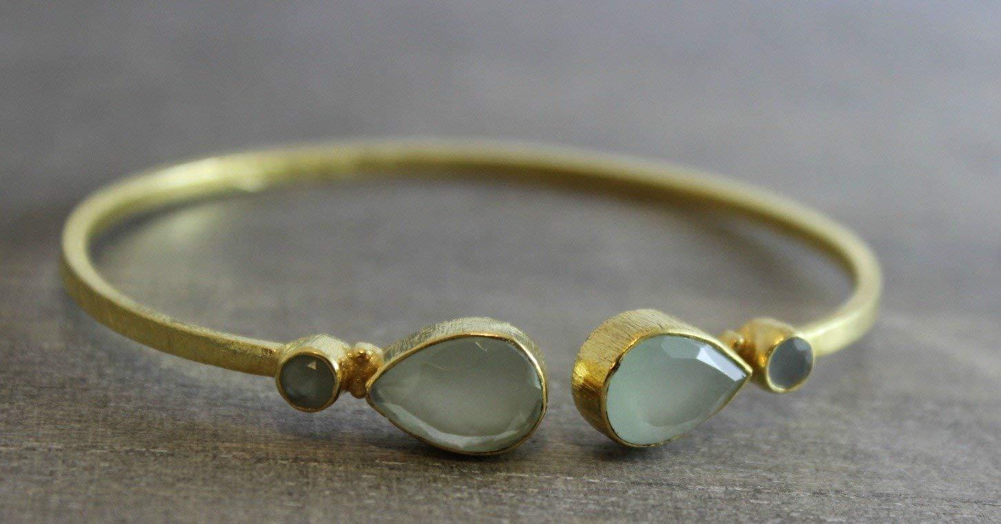 Costume Jewellery Bracelets Cute Silver Plated Chalcedony Cuff Bangel Handmade Jewelry