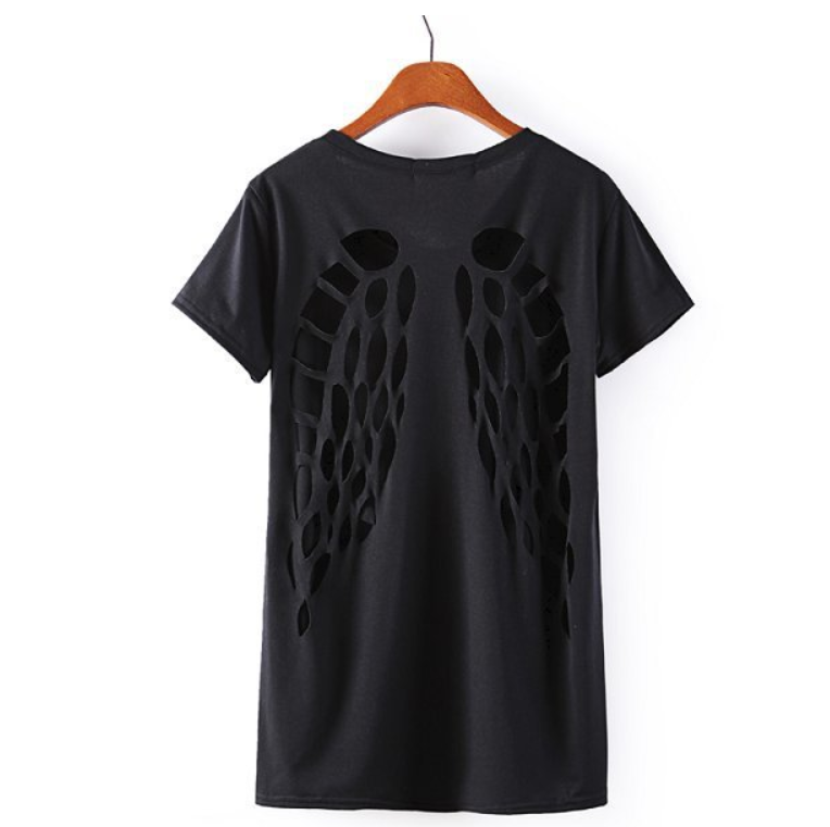 Latest Hot Sale Laser Angel Wing Backless Cotton Black T Shirt Women Custom Own Brand