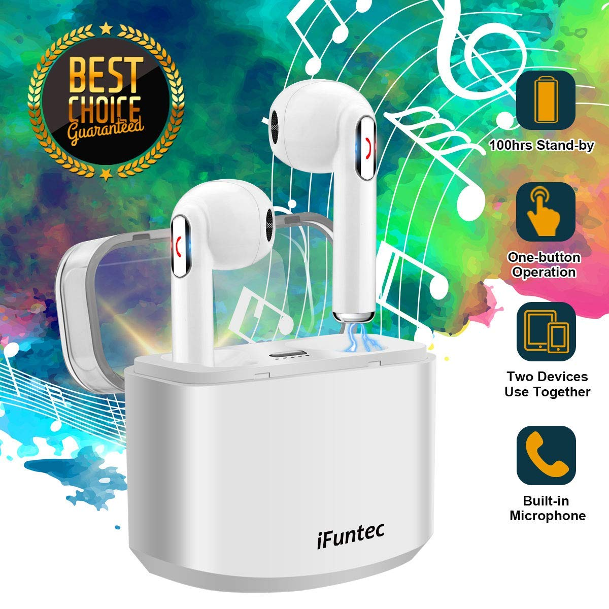 Wireless Earbuds, iFuntec Bluetooth Headphones with Mic Compact In-Ear Headphones Mini Cordless Earphones Stereo Wireless Earbuds with Charging Case Ear buds for iPhone X 8 Plus 7 6 IOS Android White