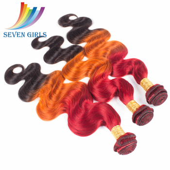Big sale Seven Girls body wave hair product 3 tone color ombre hair weaves
