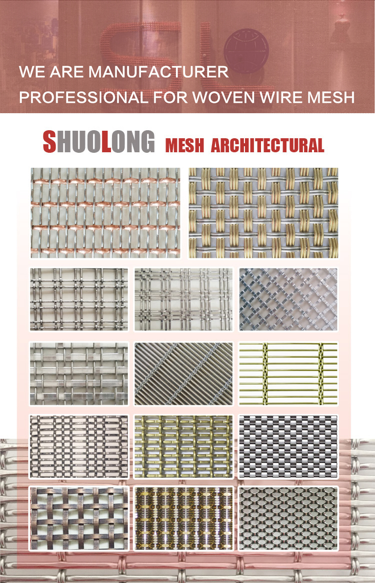 Shuolong Glass Laminated Mesh XY-R-05 Stainless Steel Architectural Mesh Screen
