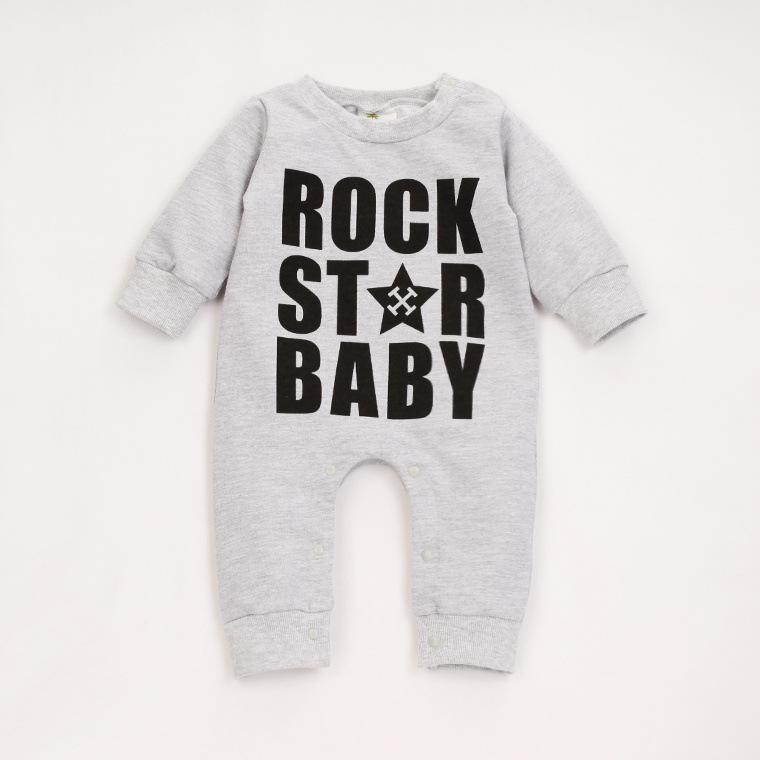 Baby-мальчики новорожденные детская одежда комбинезон одежда напечатаны рок звезда Ropa Bebe Roupas Meninos хеллоуин костюм BCX004